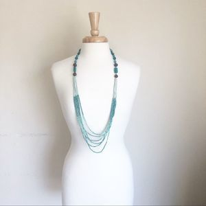 Jewelry - Tourquise Colorblock Beaded Long Layered Necklace